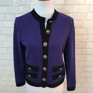 St. John Runway Santana Knit Purple Cardigan